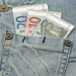Royalty-Free Stock Photo: Euro banknotes and worn jeans