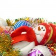 Xmas snowman and decoration balls — Stock Photo