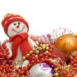 Xmas is here - Funny white snowman and decoratio — Foto Stock