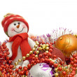 Xmas is here - Funny white snowman and decoratio — Lizenzfreies Foto