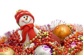 Xmas is here - Funny white snowman and decoratio — Stock Photo