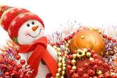 Funny white snowman — Fotografia Stock