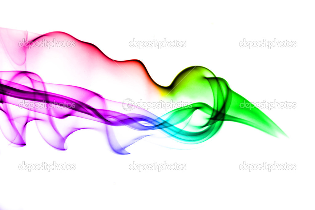 Gradient colored smoke abstract over white background — Stock Photo #1425456