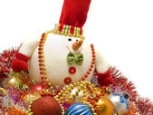 Funny Christmas snowman — Stock Photo