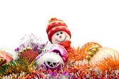 Christmas snowman and decoration — Stock Photo