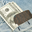 Wallet, US dollars in the pocket — Stockfoto