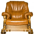 Stock Photo: Antique leather armchair isolated