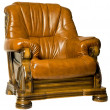 Foto Stock: Cosy Antique leather armchair