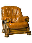 Cosy Antique leather armchair — Stok fotoğraf