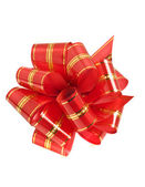Red stripy holiday ribbon — Stock Photo