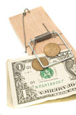 Danger - money in the mousetrap — Stock Photo