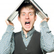 Shocked man with laptop over his head — Stock Photo #2065040