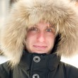 Winter - surprised man in warm jacket — Stock Photo