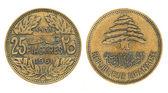 25 piastrar eller piasters - pengar i Libanon — Stockfoto