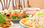 Tasty Canape. Banquet in the restaurant — Stock Photo