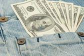 Money in jeans pocket - dollars — Stock Photo
