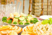Tasty canape. Banquet in the restaurant — Foto Stock