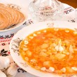 Stock Photo: Ukrainifood - borsch, vodka, bread