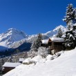 Chalets in a snow white valley — Stock Photo