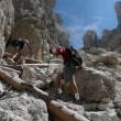 Stock Photo: Hikers in Dolomites