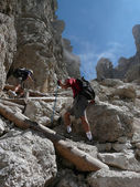 Hikers in the Dolomites — Foto de Stock