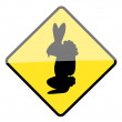 Easter bunny warning sign - Stock Vector