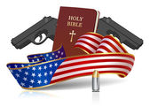 Guns and Holy Bible - American culture! — Stock Vector