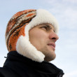 The man in a winter cap — Stock Photo