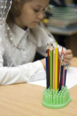 Colour pencils at school — Stock Photo