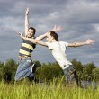 Royalty-Free Stock Photo: Jumps across the field