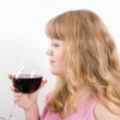 The young woman with a wine glass — Stock Photo