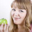 Portrait of the girl with apple — Stock Photo