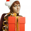 The girl submits a gift — Stock Photo