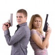 Man and woman with arms — Stock Photo