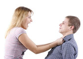 Woman abusing a man — Stock Photo