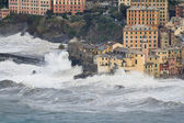 Sea storm in Camogli — Stock Photo