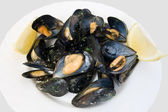 Plate with mussels — Stock Photo