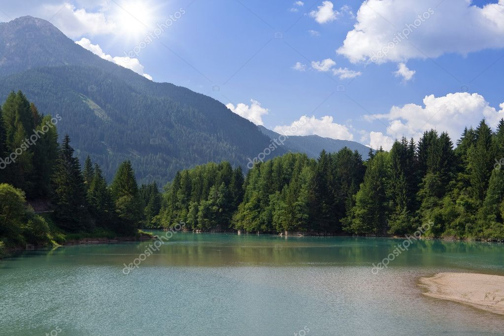 Summer view of Soraga lake in Val di fassa Trentino Italy — Stock Photo #1484201