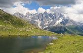 Lusia Lake and Pale San Martino mount — Stock Photo