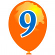 Stock Vector: Ballon number nine