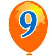 Ballon number nine — Stock Vector