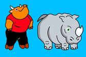 Toro e rhino — Vettoriale Stock