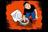 Guy fixing restroom — Stock Vector