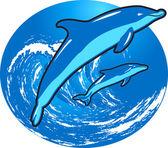 Прыжки дельфинов — Cтоковый вектор