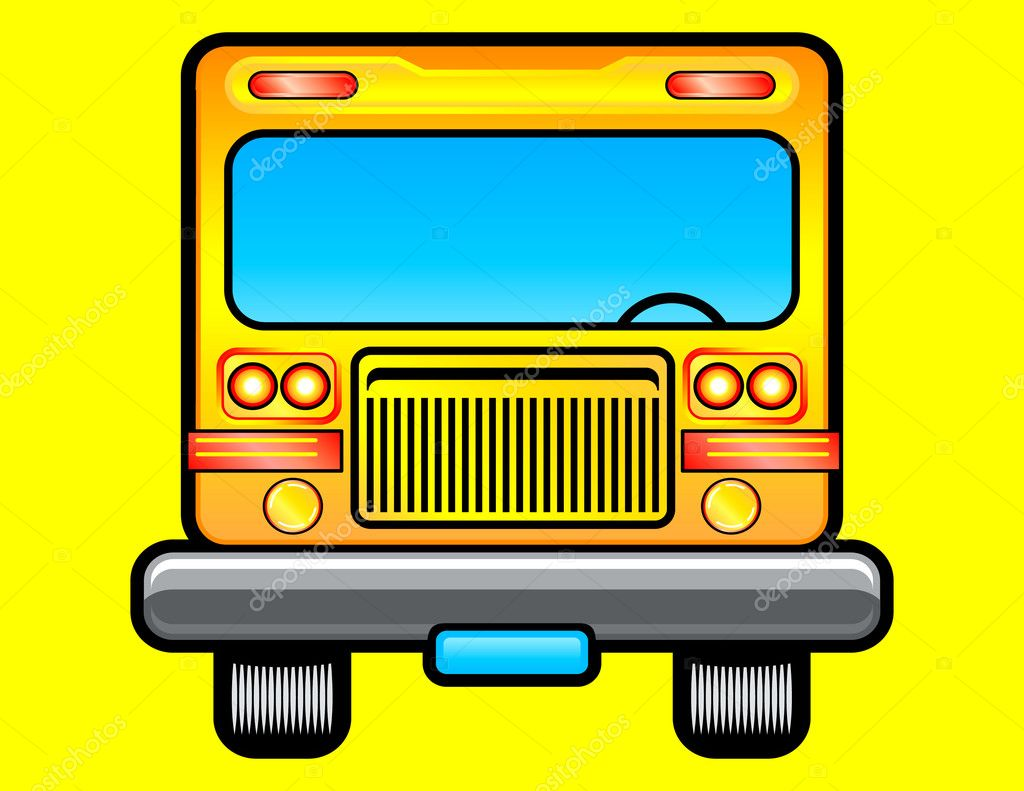Front view of school bus — Stock Vector #1369006