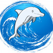 Grey dolphin — Stock Vector
