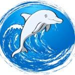 Grey dolphin — Stock Vector