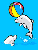 Happy baby dolphins — Stock Vector