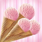 Collage of pink Ice cream — Stock Photo