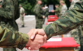 Army loyalty oath handshake — 图库照片
